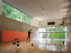 Hinsdale House - contemporary home gym with basketball court