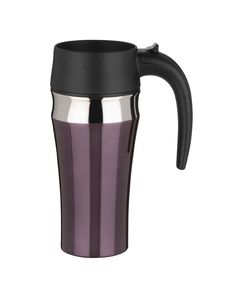 Pro: The unique design of the Trudeau Sirius Travel Mug lets you sip from anywhere on the lid of this mug. Cons: The sharp plastic edge of the lid makes it slightly uncomfortable to sip from. Coffee cools down too quickly.  (In stainless steel, eggplant, garnet, and titanium;   Buy now from Amazon.com)  - GoodHousekeeping.com