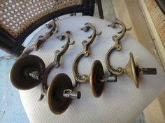Vintage brass light fixtures lot of four needs wiring by MilliesAttique on Etsy