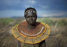 POKOT PEOPLE: EAST AFRICAN BEAUTIFUL KALENJIN AGRO-PASTORALIST PEOPLE -   Pokot girl with tribal necklace. Eric Lafforgue