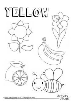 71 Top Coloring Pages Yellow Things Images & Pictures In HD Color Worksheets For Preschool, Kindergarten Coloring Pages, Kindergarten Colors, Preschool Colors, Kindergarten Worksheets, Teaching Toddlers Colors, Teaching Colors, Preschool Learning Activities, Free Preschool