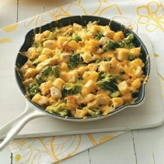 Chicken Cheese Strata Quick Dinner Recipe from Taste of Home www.tasteofhome.c...