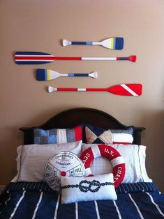 Wooden Oars Decorating Bring a Classy Look With Ship Models Nautical Decor and Ideas Nautical Lighting To Complete Nautical Themed Room Wooden Decorative Oars Will Bring Endless Summer Into Life De… Nautical Interior, Nautical Design, Nautical Home, Nautical Style, Boys Nautical Bedroom, Vintage Nautical, Nautical Bedroom Furniture, Office Furniture, Nautical Flags