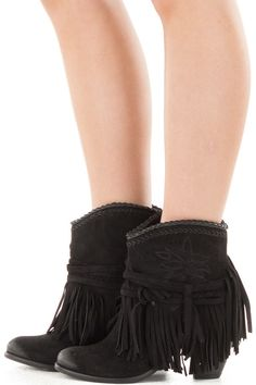d2e882b794c Black Faux Suede Fringe Booties with Stitching Accents side view Flat  Booties