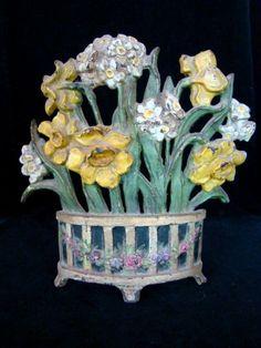 Antique HUBLEY Narcissus, Daffodil Flower Cast Iron Barbola Basket from katkatkat on Ruby Lane