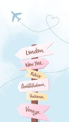 Wallpaper Volta ao Mundo by Gocase, London, New York, Paris, Amsterdam, Havana, Veneza, travel, viagem, avião, céu, placa, localização