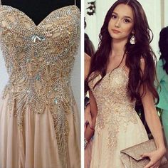 spaghetti strap prom dresses 2020 champagne beaded a line chiffon elegant sexy prom gown 2021 Straps Prom Dresses, Gold Prom Dresses, Beaded Prom Dress, Beaded Chiffon, Prom Dresses For Sale, Cheap Dresses, Evening Dresses, Bridesmaid Dresses, Formal Dresses