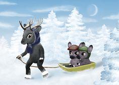 Christmas card, Reindeer family  Jonna Markkula