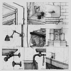 Roman & Williams sketches for ACE Hotel NYC