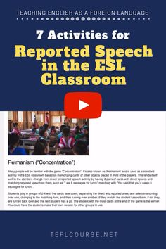 Here are 7 activities for teaching reported speech in the ESL classroom that can also easily be adjusted to any English language level. English Grammar For Kids, Teaching English Grammar, English Lessons For Kids, English Vocabulary Words, English Phrases, Learn English Words, English Sentences, Essay Writing Skills, English Writing Skills
