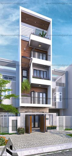 job on Behance Narrow House Designs, Modern Small House Design, Minimalist House Design, 3 Storey House Design, Bungalow House Design, House Front Design, Architecture Building Design, Home Building Design, Architecture Colleges