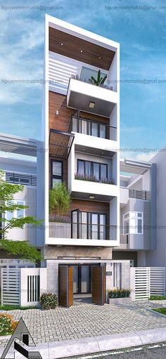 job on Behance Flat House Design, 3 Storey House Design, Narrow House Designs, Modern Small House Design, House Front Design, Modern House Facades, Modern Bungalow House, Modern Architecture House, Roman Architecture
