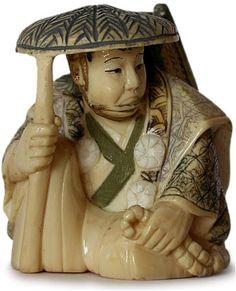Antique Japanese Carved Traveling Samurai Ivory Netsuke