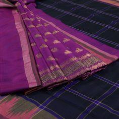 Venkie Reddy Midnight Express Blue Handwoven Gadwal Silk Saree with Zari Border 10002129 - AVISHYA.COM
