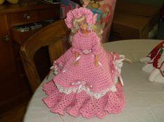 barbie DOLL W/  HANDMADE CROCHET DRESS  W/HAIR FIXED GORGOUS SMOKE FREE