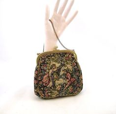 60s Evening Bag Floral Fabric Purse Small Carpet by Bethlesvintage