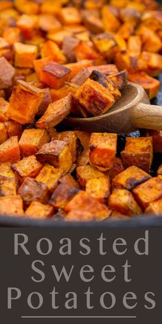 Roasted Sweet Potatoes - roasting brings out the sweet nutty flavors of this del. - Roasted Sweet Potatoes – roasting brings out the sweet nutty flavors of this delicious and health - Baked Sweet Potato Cubes, Sweet Potato Side Dish, Sweet Potatoe Bites, Potato Bites, Potato Side Dishes, How To Cook Sweet Potato, Simple Sweet Potato Recipes, Easy Vegetable Side Dishes, Kitchen