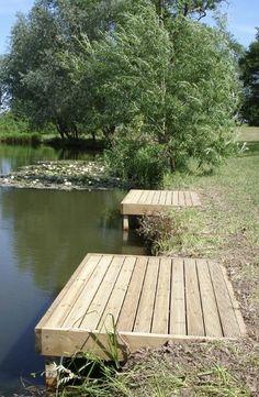 Standard Match Fishing Platform, for the point to fish! Lake Landscaping, Landscaping Ideas, Lake Dock, Boat Dock, Docks Lake, Pontoon Dock, Farm Pond, Pond Life, Fish Ponds