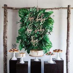 Simple way to feeling it a bit tropical with this lush green, white and gold baby shower Check out where you can host your baby shower at.