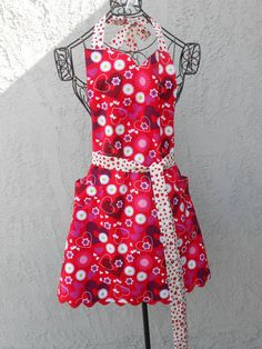 Red Apron with hearts and daisies is reversible to by judarose