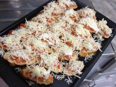 Bruschetta this is a great appetizer you can serve for an italian themed dinner... its easy to prep, and takes just 10 minutes to bake.