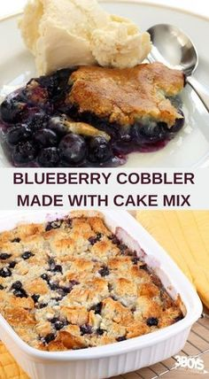 Blueberry Cake Mix Cobbler Recipe #cakemixrecipes #easydessert #dessert #cobblerrecipe