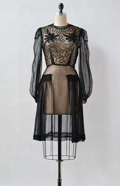 Happenstance Dress / vintage 1930s dress / vintage 30s black dress