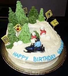 I made this cake for my brother's 33rd birthday, as he is an avid snowmobiler. Chocolate c