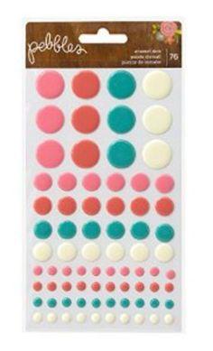 Pebbles Happy Day Epoxy Dots Scrapbook Embellishments