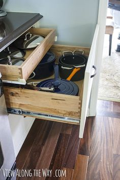 View Along the Way | Double-decker drawer for pots and lids, plus lessons learned on how to do a kitchen remodel well