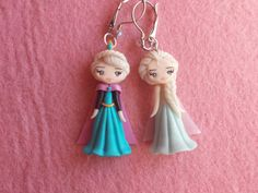 Earrings Elsa frozen in fimo polymer clay por Artmary2 en Etsy
