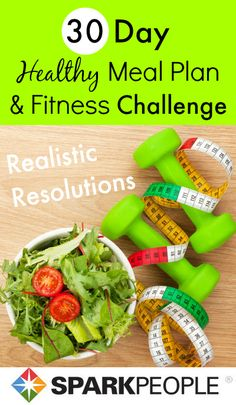Make Your Resolutions a Reality in 30 Days! Get a month of healthy meal plans plus daily tips & motivation emailed to your inbox! | via @SparkPeople #fitness #realisticresolution #diet #food #recipe