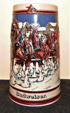 Beer Stein - Vintage 1989 - Budweiser World Famous Clydesdales - Christmas 3D