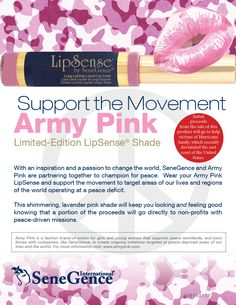Get your Army Pink #LipSense, a shimmering lavender-pink shade. A portion of the proceeds go to charity.