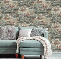 Give walls an edgy transformation with Brick Alley Peel and Stick Wallpaper by RoomMates. A temporary decorating solution, Brick Alley Peel and Stick Wallpaper gives walls a textured look providing a designer loft feel with very little effort. Brick Wallpaper Peel And Stick, Exposed Brick Wallpaper, Wallpaper Roll, Brick Wallpaper Living Room, Usa Wallpaper, Vintage Industrial Decor, Urban Industrial, Industrial Farmhouse, Industrial Wallpaper