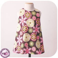 A Line dress - simple, easy sew, lined bodice, w/button and button loop - girls from 12 mths to 8 yrs - by LilyBird Studio