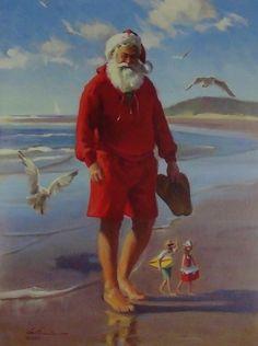 Tom Browning Christmas Cards, Santa Figurines Victorian Christmas, Vintage Christmas Cards, Retro Christmas, Christmas Pictures, Christmas Art, Beach Christmas, Father Christmas, Christmas In Australia, Decoupage