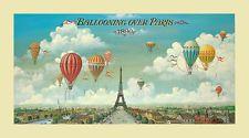 Isiah Benjamin Lane Ballooning Over Paris hot air balloon art print 20x36 poster