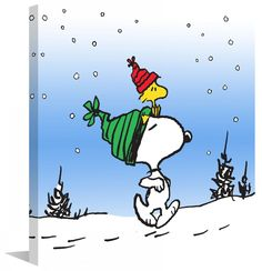 Snoopy and Woodstock walk through the snow