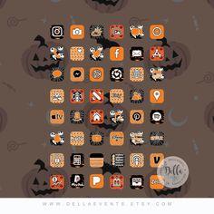 iPhone Apps App Designs Halloween Aesthetic iPhone ios14 App Icons, October, Nightmare Before Christmas, Shortcuts Imagines, 50 App Pack