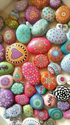 Dot art, painted rocks