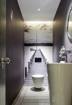 No tiles in the guest bathroom. The small room gets a great depth effect. # Guest toilet - ALL ABOUT Small Toilet Room, Guest Toilet, Downstairs Toilet, Small Wc Ideas Downstairs Loo, Small Toilet Design, Downstairs Cloakroom, Beautiful Small Bathrooms, Tiny Bathrooms, Bad Inspiration