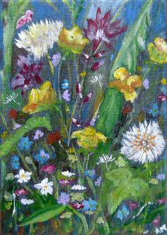 Original Acrylic on Canvas - WILD FLOWERS | eBay