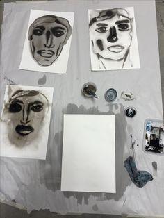 Ink on paper set up. Portraiture.