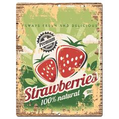 PP0817 Rust Strawberry Sign Kitchen Shop Cafe Restaurant Interior Decor Gift in Home & Garden, Home Décor, Plaques & Signs | eBay