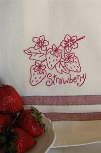 Free Strawberry Embroidery on a Tea Towel
