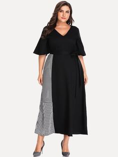 Shop Plus Cut And Sew Panel Striped Dress online. SHEIN offers Plus Cut And Sew Panel Striped Dress & more to fit your fashionable needs. Plus Size Dresses, Nice Dresses, Dresses For Work, Summer Dresses, Belted Dress, Striped Dress, Natural Clothing, Special Occasion Dresses, Dress Patterns