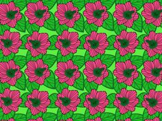 """Hot Biscuits"" by bamabenz2000 floral, flower power, graphic, green, hibiscus, pink, pink and green, retro, tropical, vintage-SM"