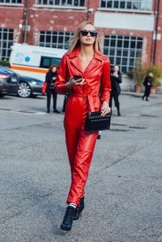 February 25, 2017 Milan, Sunglasses, Red, Model Off Duty, Jumpsuits, Romee Strijd, FW17 Women's
