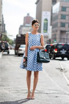 Shop this look for $85:  http://lookastic.com/women/looks/light-blue-polka-dot-casual-dress-and-black-leather-satchel-bag-and-white-leather-sandals/2065  — Light Blue Polka Dot Casual Dress  — Black Leather Satchel Bag  — White Leather Sandals